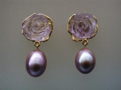 18 karaat gouden oorbellen met amethist en zoetwater parels afbeeldingen sieraad ontwerpster arnhem