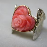 Zilver met goud roos van bloedkoraal arnhem