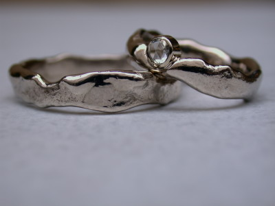 basis ringen aanschuifringen wit goud met fantasie slijpsel diamant