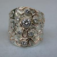 combinatie zilver goud ring met diamanten roodgoud draad ingesmolten atelier12hoven arnhem ontwerp atelier afbeeldingen