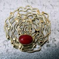 gouden hanger met bloedkoraal atelier 12hoven afbeeldingen handgemaakt