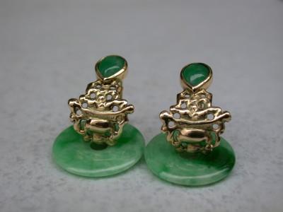 jade  donuts 18karaat gouden oorringen unieke stenen ornamenten van goud arnhem Afbeeldingen