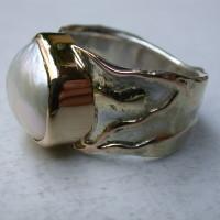 parel ring sieraad mix metzilver goud en roodgoud disign