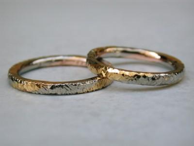 set wit met rood goud hamerslag ringen relatie ringen
