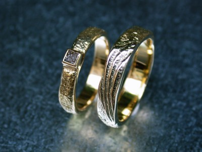 trouw ringen met ruwe diamant handgemaakt edelsmid goudsmid arnhem
