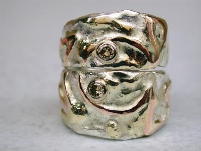 trouwring trouwringen rood geel goud gecombineerd met zilver