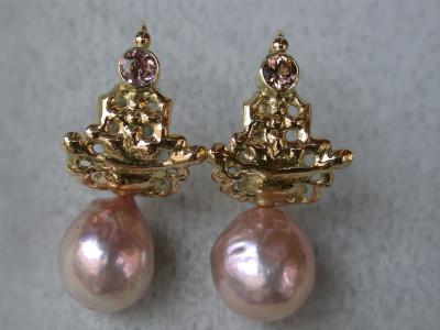 uniek ontwerp met kasimika parels en toermalijn 18 karaat goud oorhangers oorbellen afbeeldingen arnhem