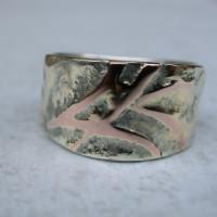 zegelring zilver met goud met roodgouden initialen .