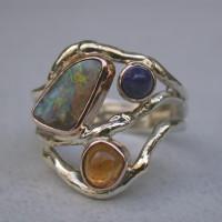 zilver met goud met opalen en Lapis lazuli