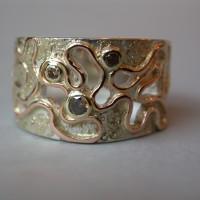 zilver met gouddraad rood  met bruine diamant goud opleg